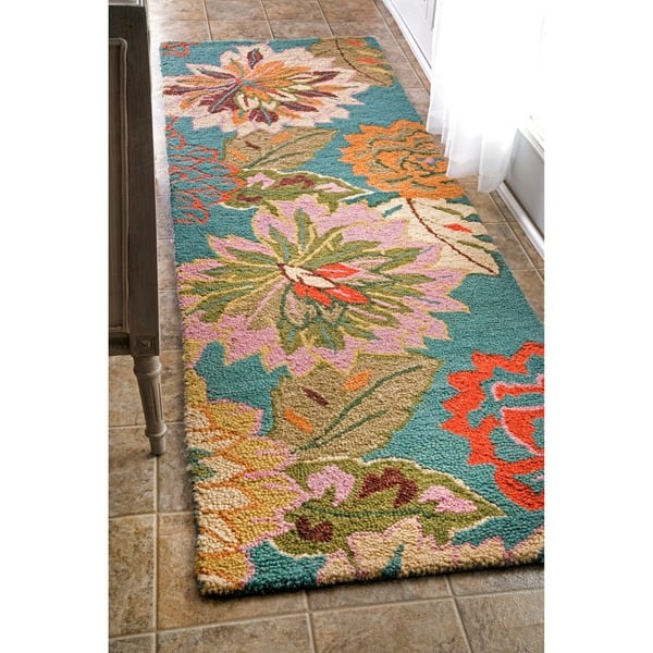 Nuloom Blue Handmade Bold Floral Wool Area Rug On Sale Overstock 8618068