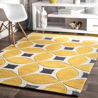 nuLOOM Handmade Modern Disco Yellow Rug (7'6 x 9'6)