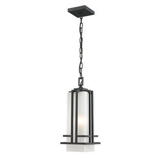 Z-Lite Outdoor Black Chain Light with Matte Opal Glass