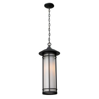 Z-Lite 19-inch Black and White Opal Glass Outdoor Chain Light