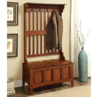 Linon Eloise Entryway Hall Tree With Split Seat Storage Bench   Free  Shipping Today   Overstock.com   15885471