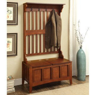 Linon Eloise Entryway Hall Tree with Split Seat Storage Bench