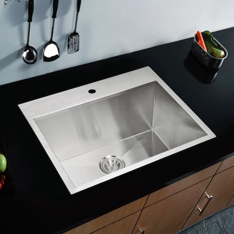 Water Creation 25-inch X 22-inch Zero Radius Single Bowl Stainless Steel Hand Made Drop in Kitchen Sink