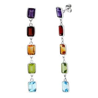 Sterling Silver Multi-gemstone Earrings