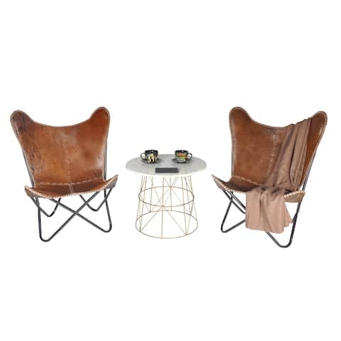 Carbon Loft Larkin Rustic Brown Leather Butterfly Chair
