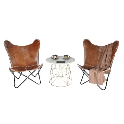 Carbon Loft Larkin Rustic Brown Leather Butterfly Chair