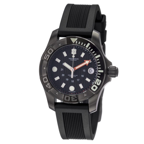 Victorinox Swiss Army Men's 241555 'Dive Master' Black Dial Black Rubber Strap Watch - N/A