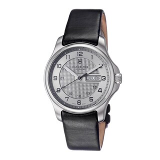 Victorinox Swiss Army Men's 'Officers' Silver Dial Black Leather Strap Watch
