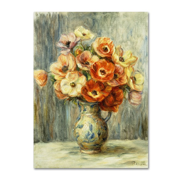Pierre Renoir 'Vase d'Anemones' Canvas Art