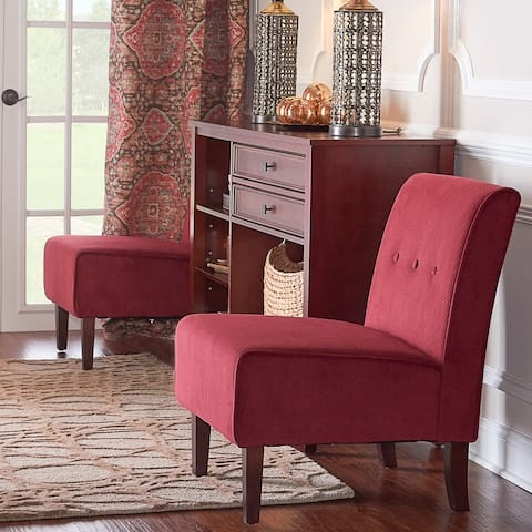 Porch & Den Cumberland Bright Red Button Tufted Lounge Chair
