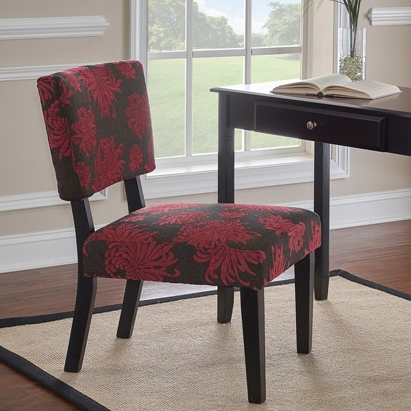 Linon Kathleen Red Black Gray Print Accent Chair