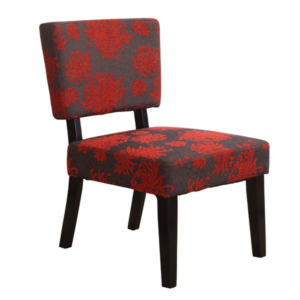 Linon Kathleen Red Black Amp Gray Print Accent Chair Free