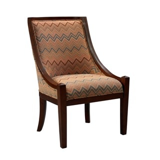 Linon Radio City Padded Accent Chair in Brown Fabric
