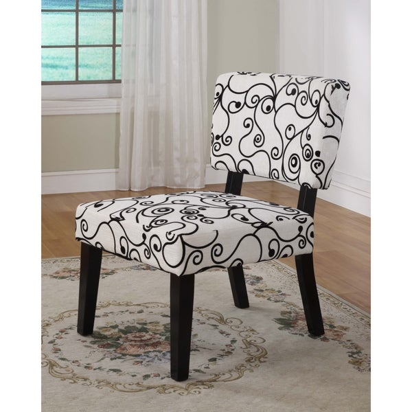 Shop Linon Kathleen Black White Print Accent Chair Free Shipping