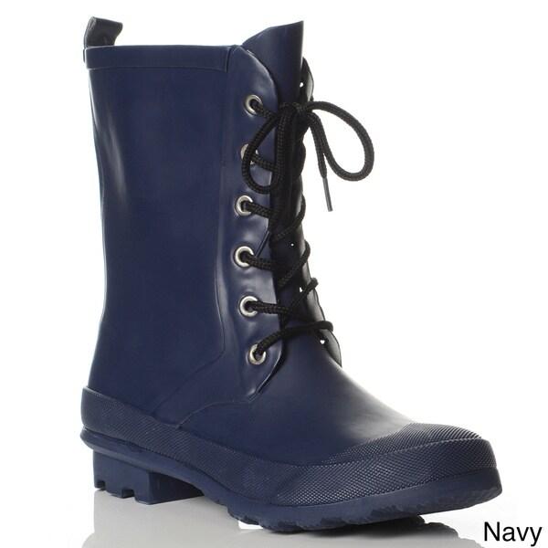 Henry Ferrera Women's Lace-up Mid-calf Rain Boots