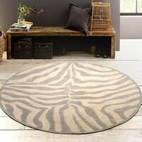 LR Home Hand Tufted Fashion Modern Zebra Taupe/ Silver Wool Rug - 5' x 5'