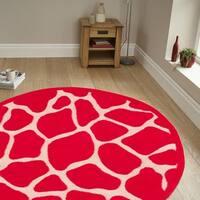 LR Home Fashion Hot Pink Animal-print Rug (7'9 Round)