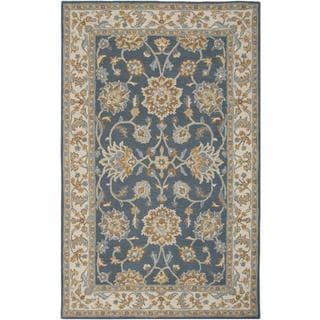 Crypt Hand-tufted Handicraft Imports 'Aisling' Navy/ Ivory New Zealand Wool Blend Area Rug (9' x 12') - 9' x 12'