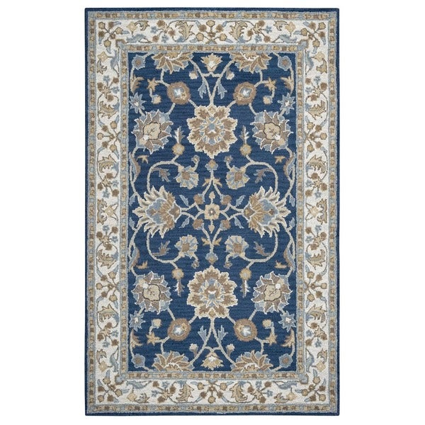 Rizzy Home Ashlyn Hand-tufted Handicraft Imports 'Aisling' Navy/ Ivory New Zealand Wool Blend Area Rug (9' x 12')