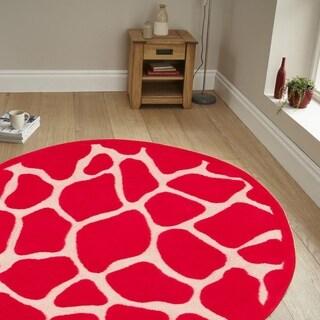 LNR Home Fashion Hot Pink Animal-print Rug - 5' x 5'