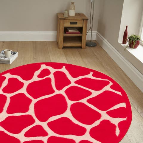 LR Home Hand Tufted Fashion Hot Pink Polypropylene Rug ( 5' Round ) - 5' x 5'