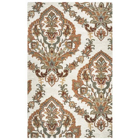 Crypt Collection Rust Damask Rug