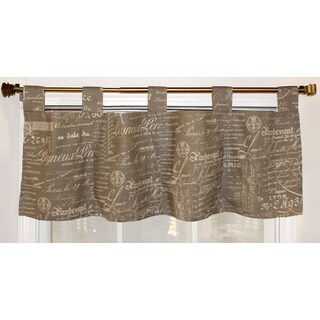 French Script Taupe Cotton Tab Top Valance