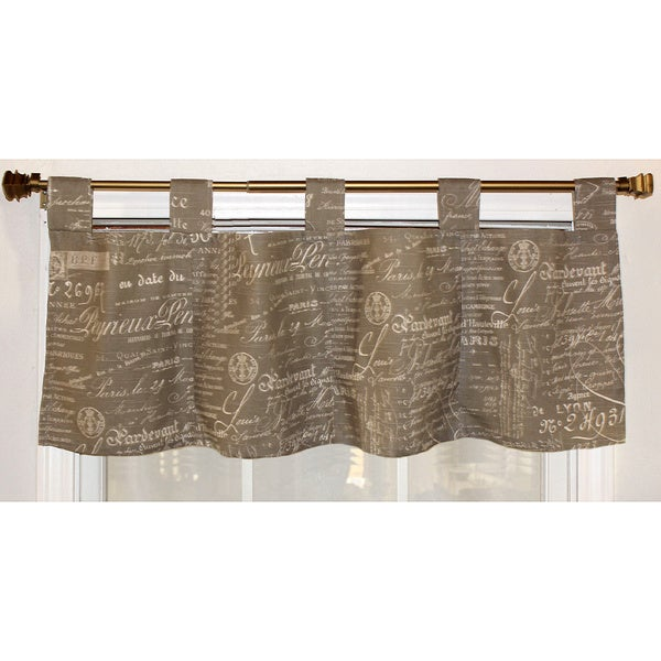 Shop French Script Taupe Cotton Tab Top Valance Free