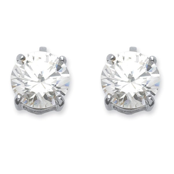 Silver Tone Clip On Stud Earrings (14x9mm) Round Cubic Zirconia (6 cttw TDW)
