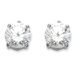 PalmBeach 6 TCW Cubic Zirconia Clip-On Earrings Silvertone Classic CZ