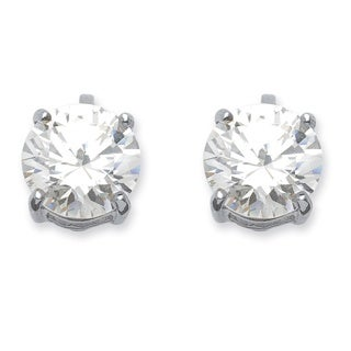 6 TCW Cubic Zirconia Clip-On Earrings Silvertone Classic CZ
