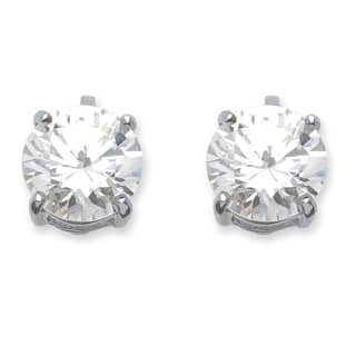 Silver Tone Clip On Stud Earrings 14x9mm Round Cubic Zirconia 6 Cttw Tdw