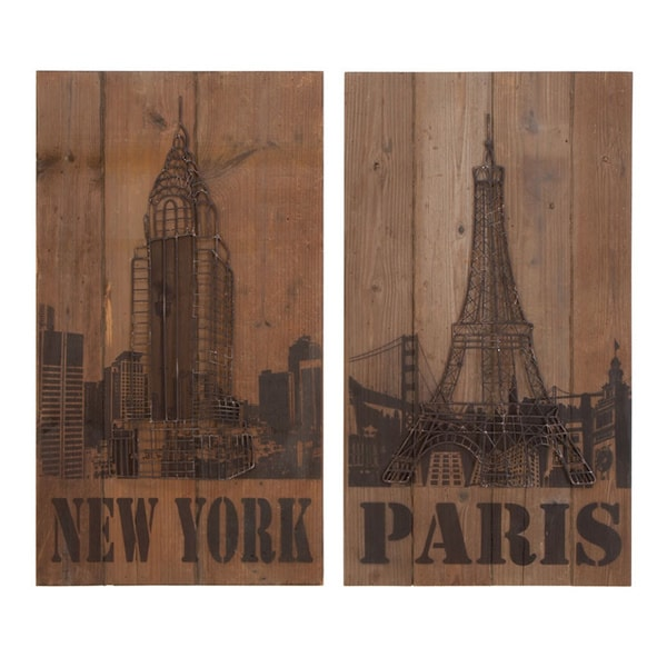 New York and Paris 2-piece Wood Wall Art
