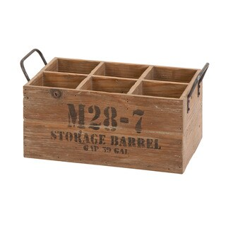 Natural Stamped Wooden Wine Crate
