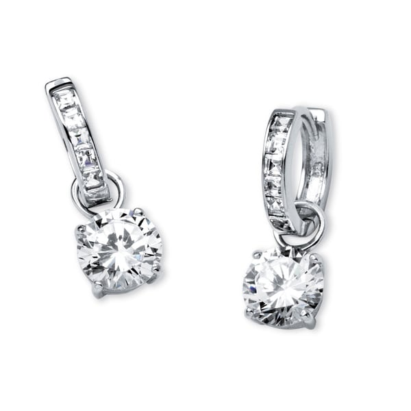 Shiny 925 Sterling Silver PL Square Cubic Zirconia CZ Huggie Hoop Earrings Gift