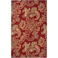 Rizzy Home Ashlyn Hand-tufted Handicraft Imports 'Aisling' Red Wool Blend Area Rug - 9' x 12'