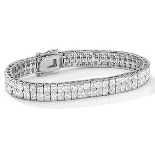 "6 TCW Princess-Cut Cubic Zirconia Silvertone Double-Row Tennis Bracelet 7 1/4"" Classic CZ"
