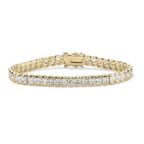 Yellow Gold-Plated Tennis Bracelet (6.5mm), Princess Cut Cubic Zirconia, 7.5""