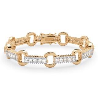 PalmBeach 2.70 TCW Round Cubic Zirconia Link Bracelet 14k Gold-Plated Classic CZ