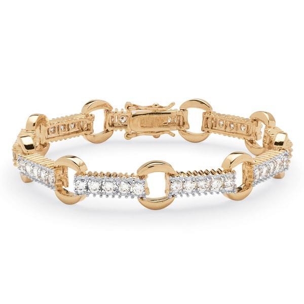 2.70 TCW Round Cubic Zirconia Link Bracelet Gold-Plated Classic CZ