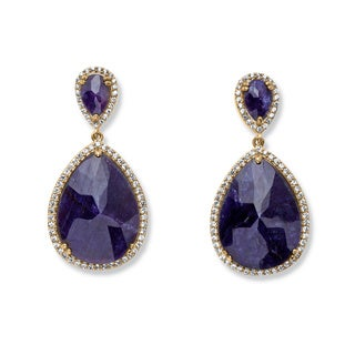 PalmBeach 41.18 TCW Genuine Midnight Sapphire and Cubic Zirconia Earrings in 18k Gold over Sterling Silver