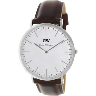 Daniel Wellington Men's Bristol Brown Leather Quartz Watch