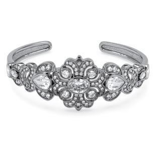 PalmBeach 9.39 TCW Vintage-Style Cubic Zirconia Bangle Bracelet Platinum-Plated Glam CZ