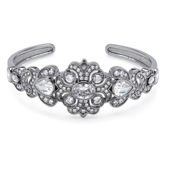 PalmBeach 9.39 TCW Vintage-Style Cubic Zirconia Bangle Bracelet Platinum- Plated Glam CZ