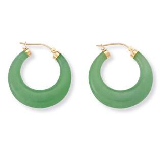 Green Jade Hoop Earrings in Golden Finish over Sterling Silver Naturalist