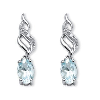 PalmBeach .81 TCW Oval-Cut Genuine Aquamarine with Diamond Accents Drop Earrings in 10k White Gold