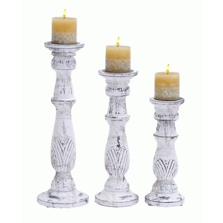 Maison Rouge Lamartine Antiqued White Wooden Candle Stand (Set of 3)