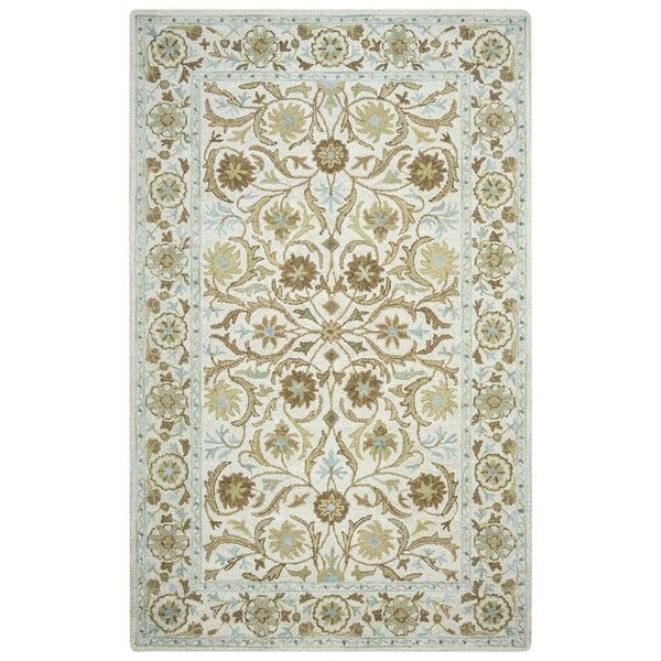 Rizzy Home Ashlyn Hand-tufted Handicraft Imports 'Aisling' Beige Wool Blend Area Rug - 9' x 12'