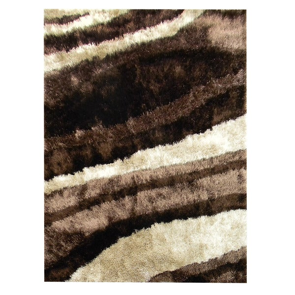 Hand-tufted Abstract Wave Chocolate Lush Pile Area Rug (5' x 7')