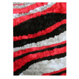 Hand-tufted Abstract Wave Red Area Rug (5' x 7')